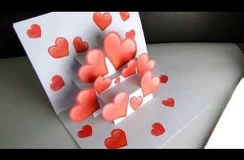 como hacer tarjetas de amor con corazones de papel