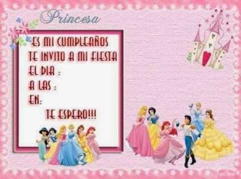 invitaciones virtuales de cumpleaños princesas