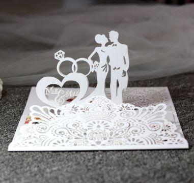 tarjetas elegantes de matrimonio figuras en relieve