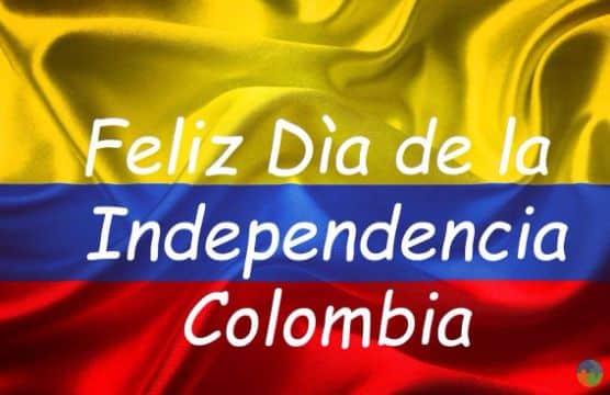 feliz independencia colombia con bandera