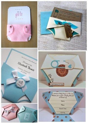 modelos de tarjetas de baby shower pañales de diferentes materiales