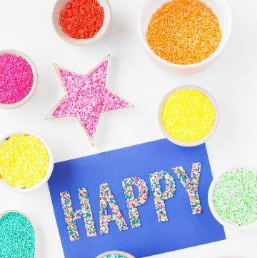 tarjetas de cumpleaños para hacer a mano letras brillantes