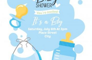 tarjetas de invitacion para baby shower con imagenes de objetos