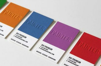 tarjetas de presentacion para pintores con letras en relieve