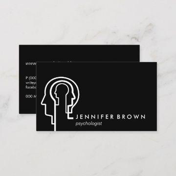 tarjetas personales psicologos negras con blanco