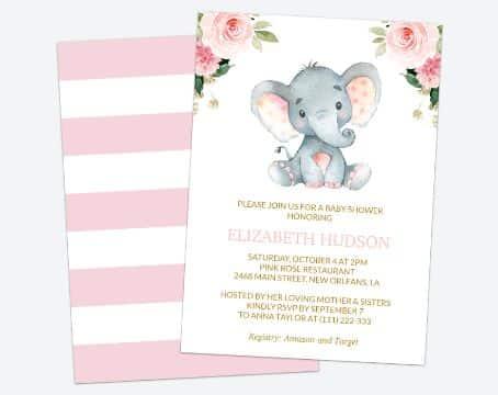 invitaciones de baby shower niña dibujos de animalitos