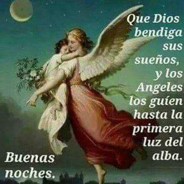 tarjetas de angeles de buenas noches con pintura