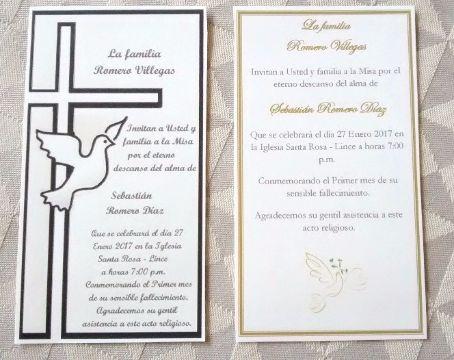 invitaciones a misa de difuntos original
