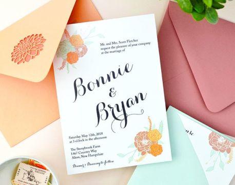 invitaciones para boda civil flores como ilustracion