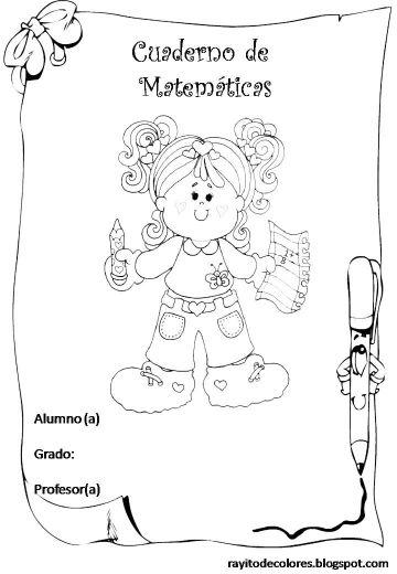 caratulas de matematicas para niños pegar y colorear