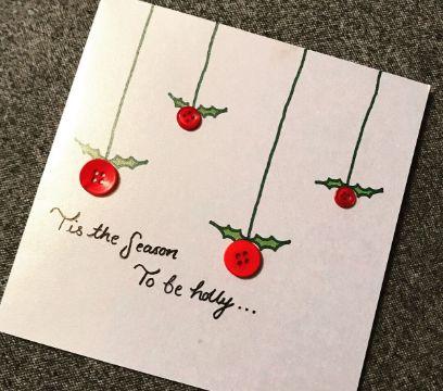 tarjetas de navidad hechas a mano botones y dibujos
