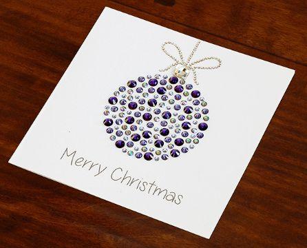 tarjetas de navidad hechas a mano con piedras brillantes