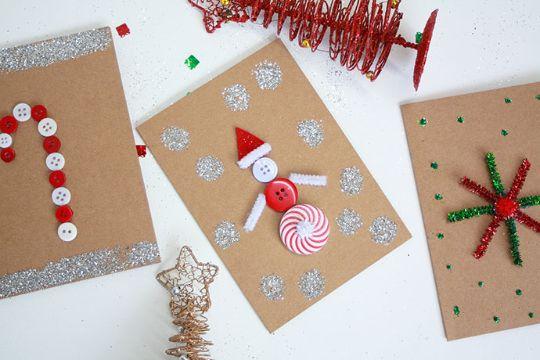 tarjetas de navidad hechas a mano materiales reciclados y creativos