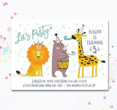 invitaciones para cumpleaños de niños con dibujos de animales