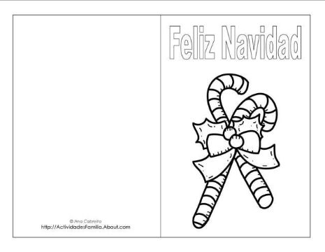 tarjetas para colorear de navidad con caramelos