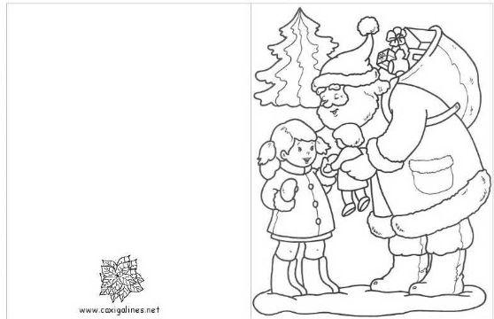 tarjetas para colorear de navidad santa