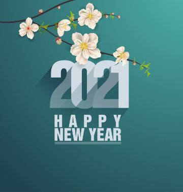 tarjetas de año nuevo 2021 con flores