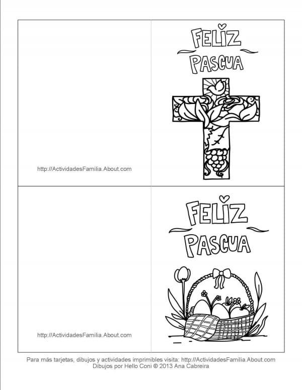 tarjetas de felices pascuas para colorear