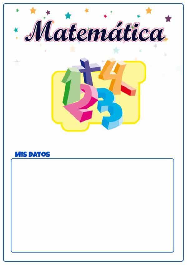 caratulas de matematicas para imprimir para primaria