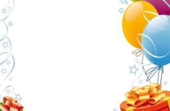 marcos para cartas de cumpleaños con globos y regalos
