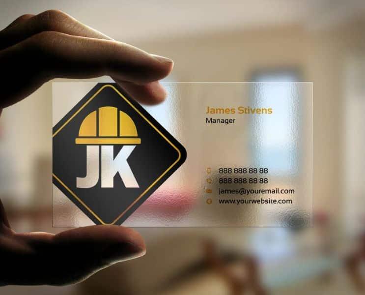 tarjetas de presentacion de construccion transparencia