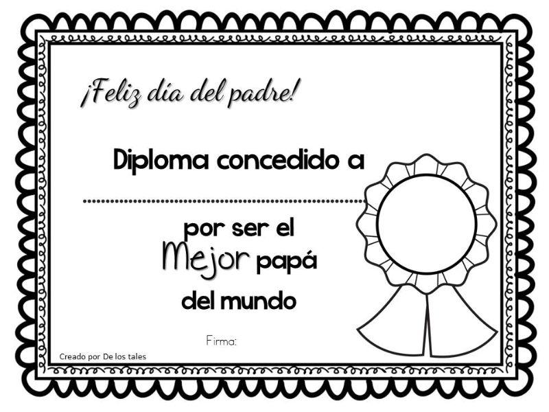 tarjetas para imprimir dia del padre tipo diploma