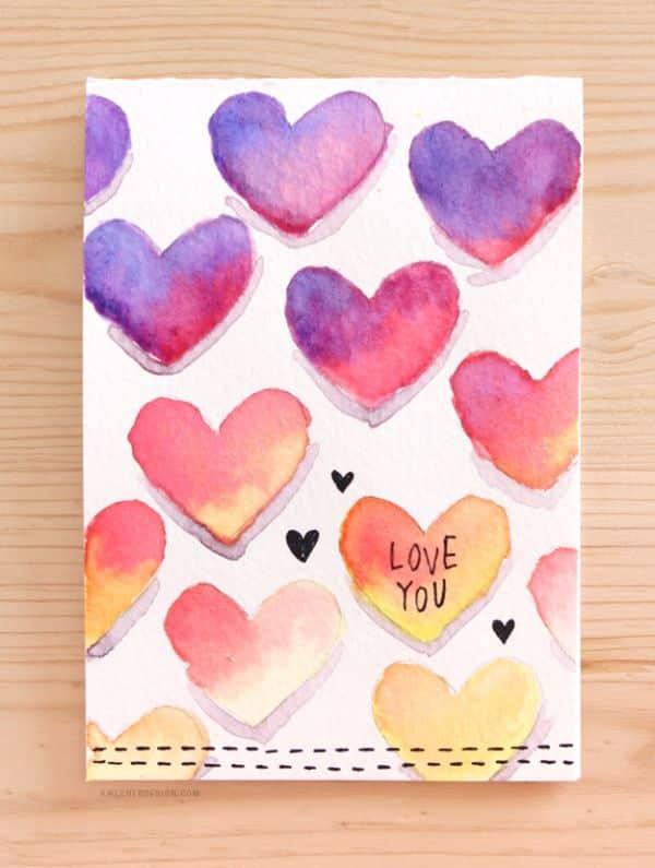 tarjetitas de amor hechas a mano con acuarela