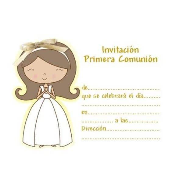 mi primera comunion invitaciones con personajes coloridos