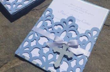 sobres para tarjetas de bautizo carton picado