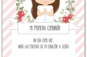 tarjetas de comunion niña con personajes