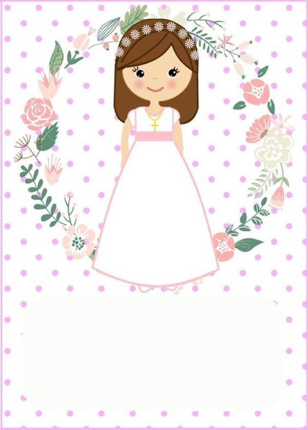 tarjetas de primera comunion para niña con personaje