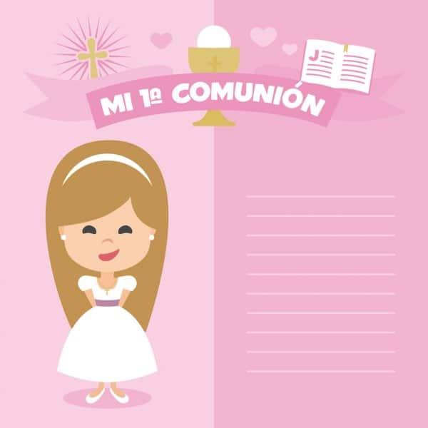 tarjetas de primera comunion para niña sencillas