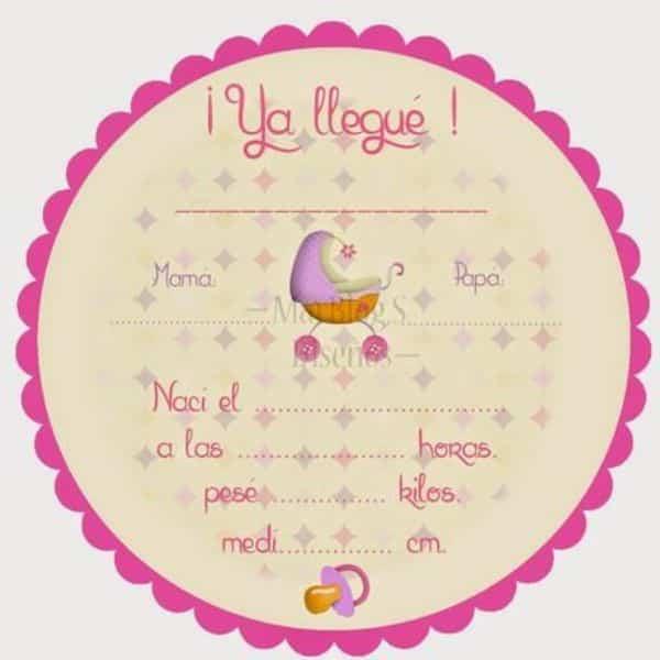 tarjetas para bebes recien nacidos para informar