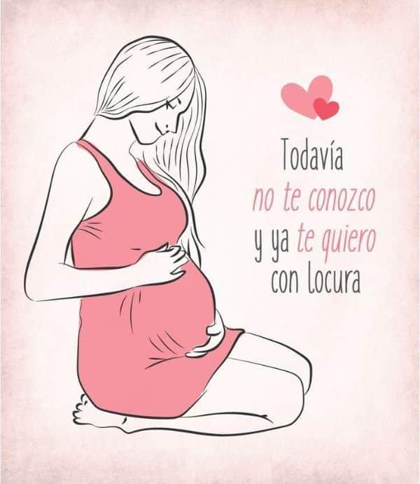 frases de una mujer embarazada con dibujos