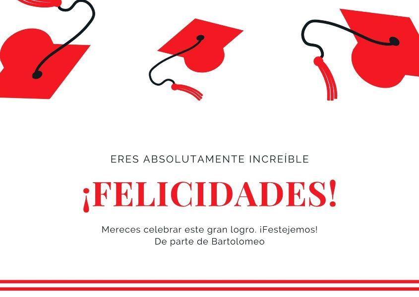tarjeta de felicitaciones de grado por parte del colegio
