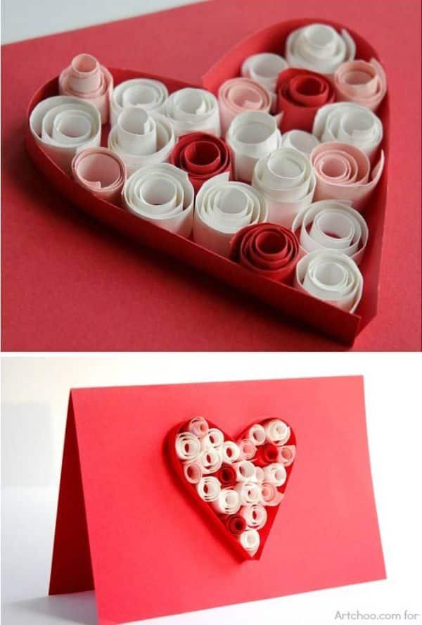 tarjetas de dia de san valentin corazones con relieve