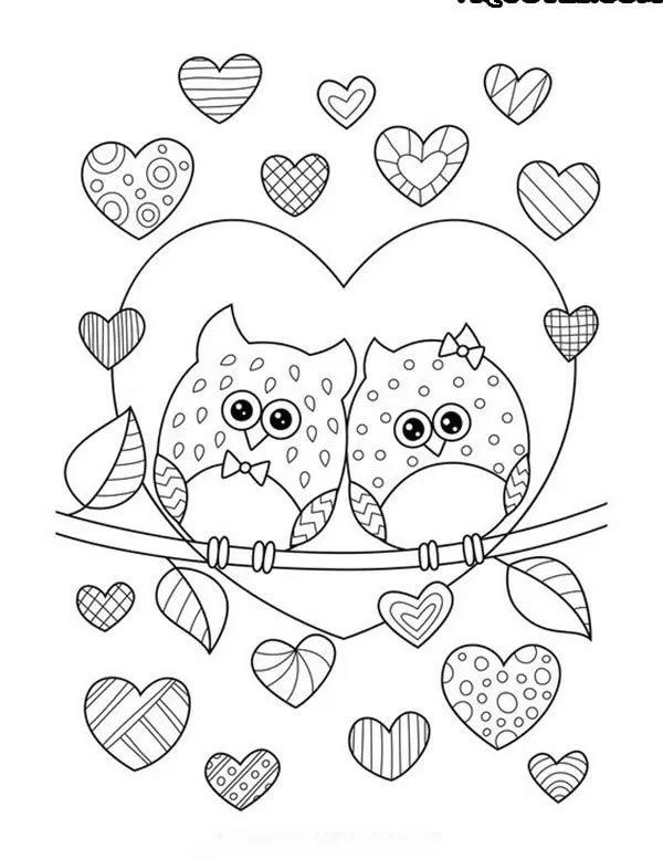 tarjetas de dia de san valentin para colorear