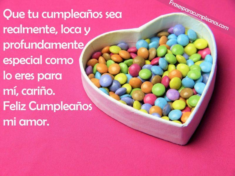 felicitacion de cumpleaños para mi novio con dulces