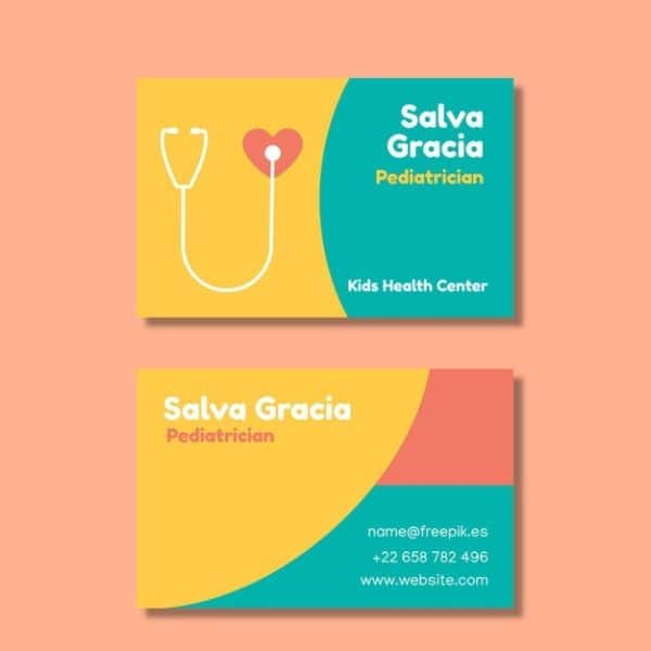 tarjetas de presentacion pediatra a tres colores