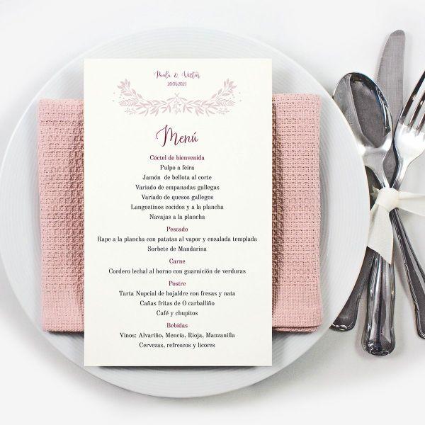 tarjetas para mesas de invitados para menu