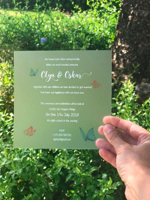 invitaciones de boda transparentes con opacidad