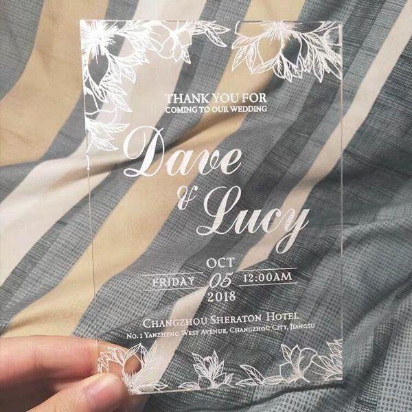 invitaciones de boda transparentes grabado acrilico