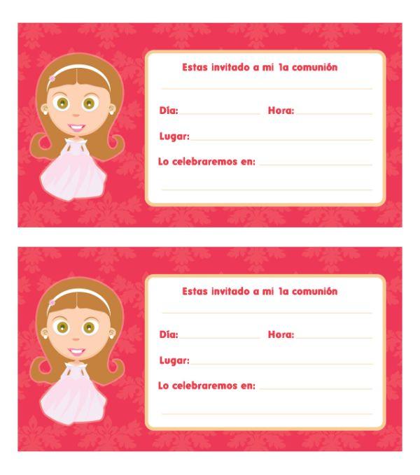 invitaciones de primera comunión para imprimir con personajes