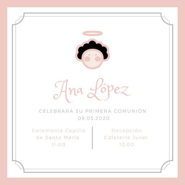 invitaciones de primera comunión para imprimir minimalista