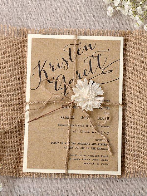 invitaciones hechas a mano para boda rustica