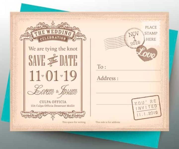 invitaciones para boda vintage tipo postal