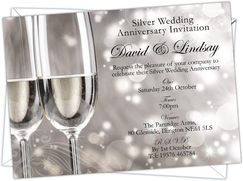 tarjetas de bodas de plata con dibujos brillantes