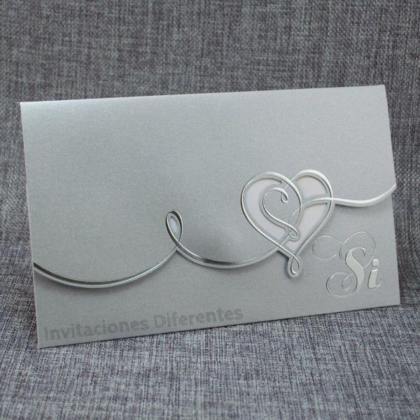 tarjetas de bodas de plata corazon plateado